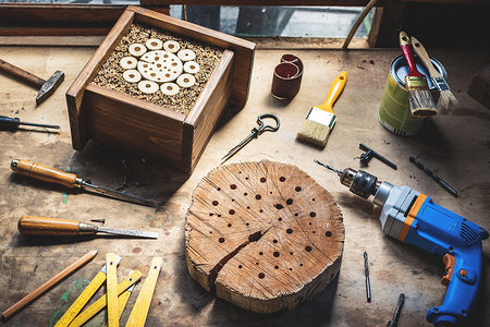 tool, workshop, wood, insect, hotel, house, carpentry, work, equipment, craft, diy, wooden, making, homemade, insect hotel, drill, paintbrush, craft product, table, object, working, creativity, hobbies, design, drill bit, place of work, hand tool, chisel, hammer, paint, work tool, skill, industry, decorative, no people, timber, desk, hole, retro, gardening, shelter, decoration, indoors, box, protect, insect house, bug, bumblebee, blue